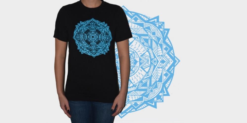 Black Tee with Blue Mandala