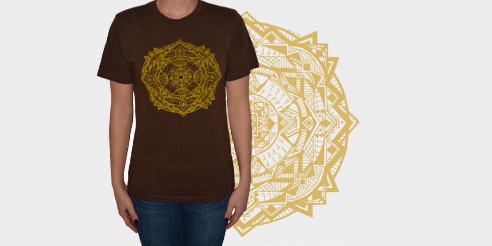 Brown Tee with Gold Mandala