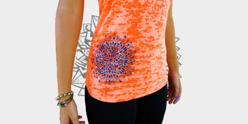 Bright Orange Tanktop with Mandala on Hip