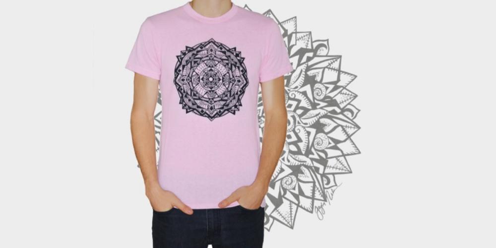 Pink Tee with Black Mandala