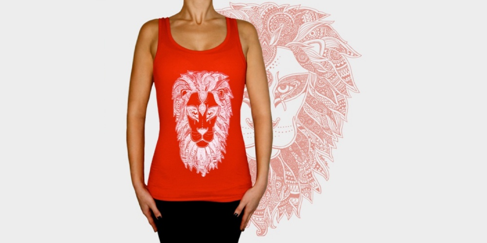 Red Tanktop with White Lion